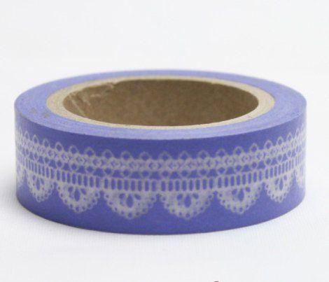 Washi Tape - dekorační lepicí páska - 10mx15mm - BÍLÁ KRAJKA VE FIALOVÉ ostatní