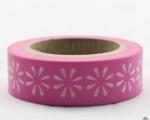 Washi Tape - dekorační lepicí páska - 10mx15mm - BÍLÉ KVĚTINY V RŮŽOVÉ
