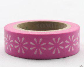 Washi Tape - dekorační lepicí páska - 10mx15mm - BÍLÉ KVĚTINY V RŮŽOVÉ ostatní