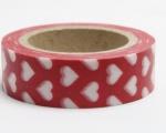 Washi Tape - dekorační lepicí páska - 10mx15mm - BÍLÉ SRDÍČKO V ČERVENÉ