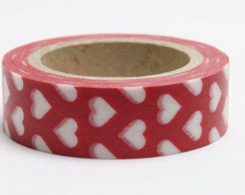 Washi Tape - dekorační lepicí páska - 10mx15mm - BÍLÉ SRDÍČKO V ČERVENÉ ostatní