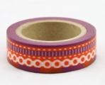 Washi Tape - dekorační lepicí páska - 10mx15mm - BORDURA ČERVENÁ FIALOVÁ ŠICÍ STEH