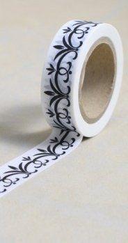 Washi Tape - dekorační lepicí páska - 10mx15mm - ČERNÁ LISTOVÁ BORDURA ostatní