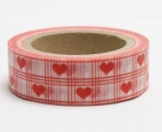 Washi Tape - dekorační lepicí páska - 10mx15mm - ČERVENÉ SRDÍČKO V KANAFASU