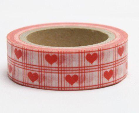 Washi Tape - dekorační lepicí páska - 10mx15mm - ČERVENÉ SRDÍČKO V KANAFASU ostatní