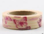 Washi Tape - dekorační lepicí páska - 10mx15mm - ČERVENÍ MOTÝLI VE ŽLUTÉ