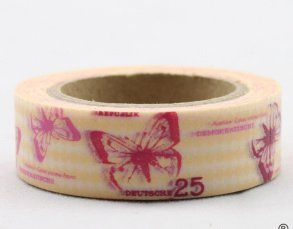 Washi Tape - dekorační lepicí páska - 10mx15mm - ČERVENÍ MOTÝLI VE ŽLUTÉ ostatní