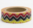 Washi Tape - dekorační lepicí páska - 10mx15mm - CIKCAK ŽLUTÁ, ČERNÁ, ČERVENÁ