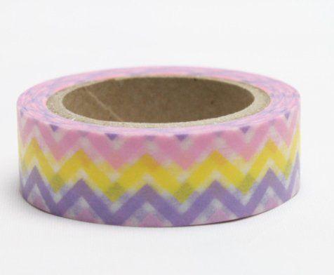 Washi Tape - dekorační lepicí páska - 10mx15mm - CIKCAK FIALOVÁ, ŽLUTÁ, RŮŽOVÁ ostatní