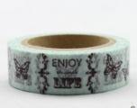 Washi Tape - dekorační lepicí páska - 10mx15mm - ENJOY LIFE