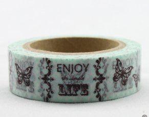 Washi Tape - dekorační lepicí páska - 10mx15mm - ENJOY LIFE ostatní