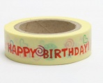 Washi Tape - dekorační lepicí páska - 10mx15mm - HAPPY BIRTHDAY
