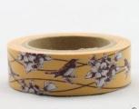 Washi Tape - dekorační lepicí páska - 10mx15mm - HNĚDÍ PTÁCI V OKROVÉ