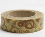 Washi Tape - dekorační lepicí páska - 10mx15mm - HODINOVÁ KOLEČKA ZLATÁ