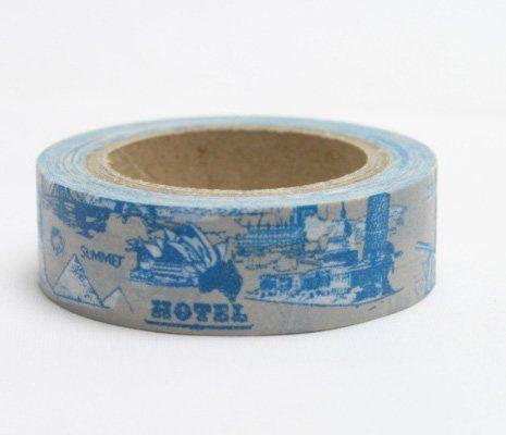 Washi Tape - dekorační lepicí páska - 10mx15mm - HOTEL, CESTOVÁNÍ V MODRÉM ostatní