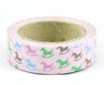 Washi Tape - dekorační lepicí páska - 10mx15mm - HOUPACÍ KONÍČCI