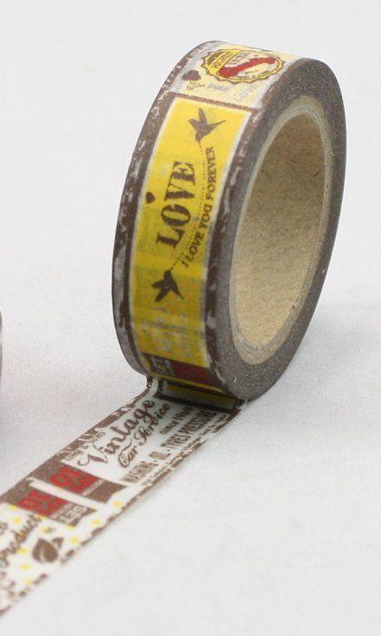 Washi Tape - dekorační lepicí páska - 10mx15mm - I LOVE YOU FOREVER