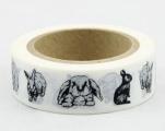 Washi Tape - dekorační lepicí páska - 10mx15mm - KRÁLÍCI