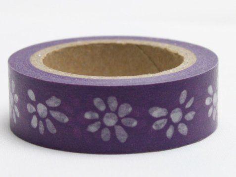 Washi Tape - dekorační lepicí páska - 10mx15mm - KVĚTINY VE FIALOVÉ