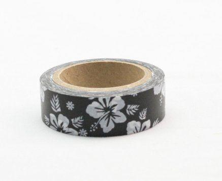 Washi Tape - dekorační lepicí páska - 10mx15mm - KVĚTINY V ČERNÉM POZADÍ