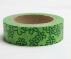 Washi Tape - dekorační lepicí páska - 10mx15mm - KVĚTINY ZELENÉ