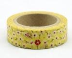 Washi Tape - dekorační lepicí páska - 10mx15mm - KVÍTÍ ČERVENO-BÍLÉ VE ŽLUTÉ