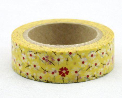 Washi Tape - dekorační lepicí páska - 10mx15mm - KVÍTÍ ČERVENO-BÍLÉ VE ŽLUTÉ ostatní