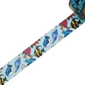 Washi Tape - dekorační lepicí páska - 10mx15mm - MOŘSKÉ RYBY ostatní