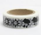 Washi Tape - dekorační lepicí páska - 10mx15mm - POČASÍ-SLUNCE,MRAK,DÉŠŤ