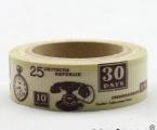 Washi Tape - dekorační lepicí páska - 10mx15mm - RETRO TELEFÓN, HODINKY