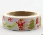 Washi Tape - dekorační lepicí páska - 10mx15mm - SANTA A DÁRKY V BÍLÉ