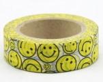 Washi Tape - dekorační lepicí páska - 10mx15mm - SMAJLÍCI