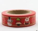 Washi Tape - dekorační lepicí páska - 10mx15mm - SNĚHULÁK, SANTA, STROM V ČERVENÉ