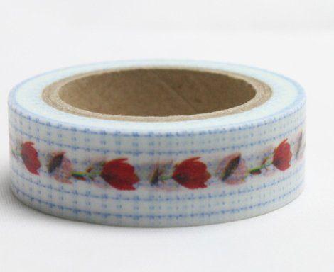 Washi Tape - dekorační lepicí páska - 10mx15mm - TULIPÁNY V KANAFASU