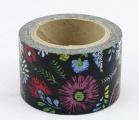 Washi Tape - dekorační lepicí páska - 10mx30mm - KVĚTINY V ČERNÉM