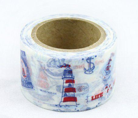 Washi Tape - dekorační lepicí páska - 10mx30mm - MAJÁK