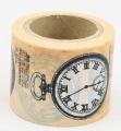 Washi Tape - dekorační lepicí páska - 10mx38mm - RETRO HODINKY