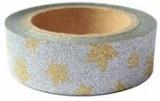 Washi Tape - dekorační lepicí páska glitrová - 5m x 15mm - stříbrná se zlatými hvězdami
