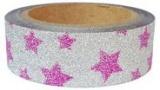Washi Tape - dekorační lepicí páska glitrová - 5m x 15mm - růžové hvězdy