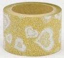 Washi Tape - dekorační lepicí páska glitrová - 5mx30mm - stříbrná srdce