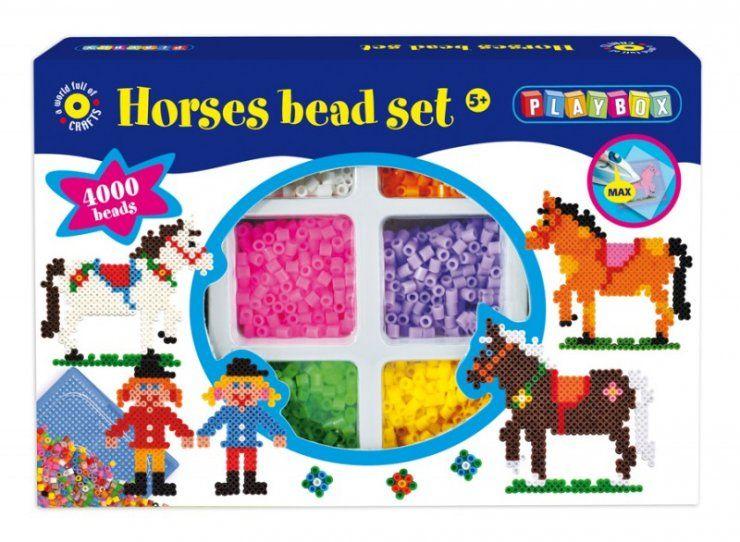 Zažehlovací korálky 4000 ks - Koně s jezdci PLAYBOX