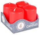 Adventní svíce válec červený 40 x 60 mm, 4 ks v sadě