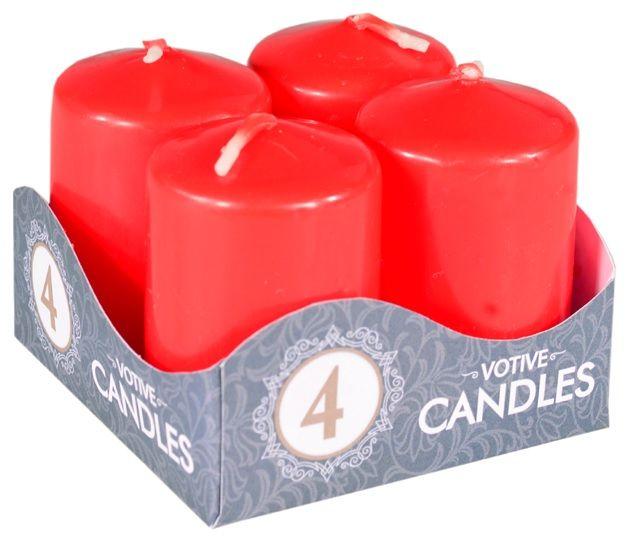 Adventní svíce válec červený 40 x 60 mm, 4 ks v sadě ostatní