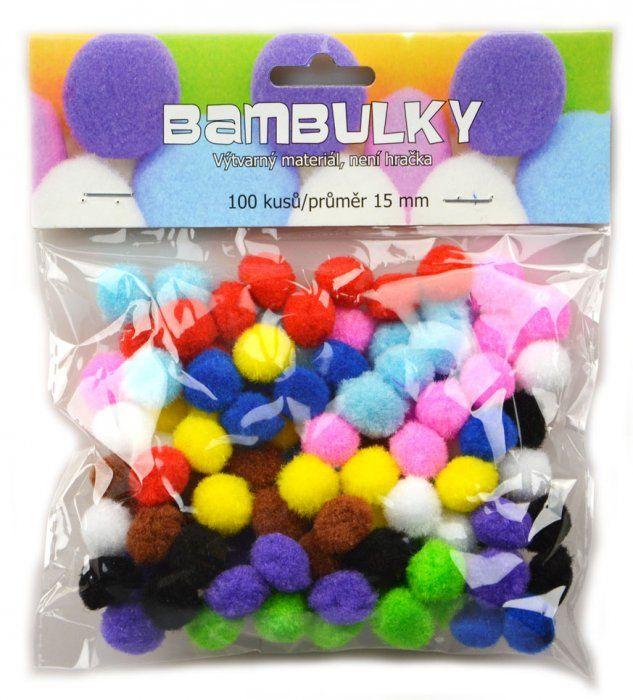 Bambulky - základní barvy, 100 ks, cca 15 mm SMTCreatoys
