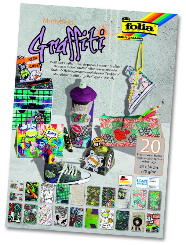 "Blok s motivem ""GRAFFITY"" - 270 g/m2, 20 listů Folia"