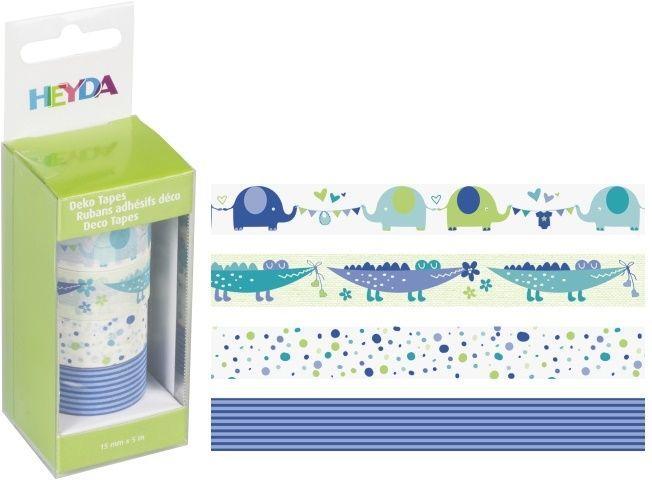 Deco Tape - sada Baby modrá 4ks 15mmx5m HEYDA
