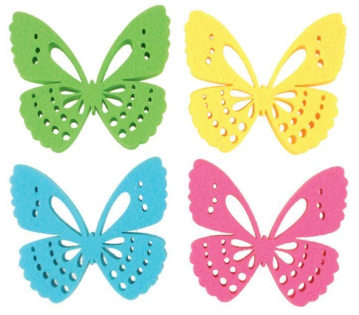Dekorace motýl z filcu 6 cm, 12 ks v krabičce Andel