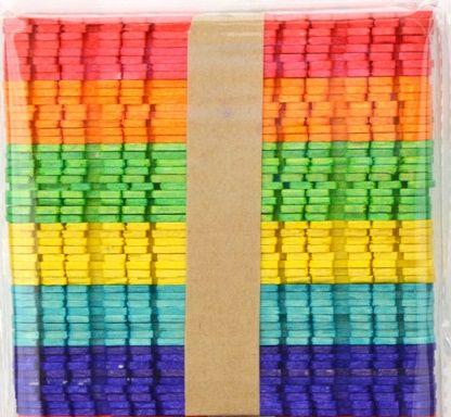 Dřívka barevná - špachtle s výřezy 50 ks