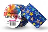 Duct Tape - dekorační lepicí páska - 5m x 48mm - BAREVNÉ HVĚZDIČKY V MODRÉ