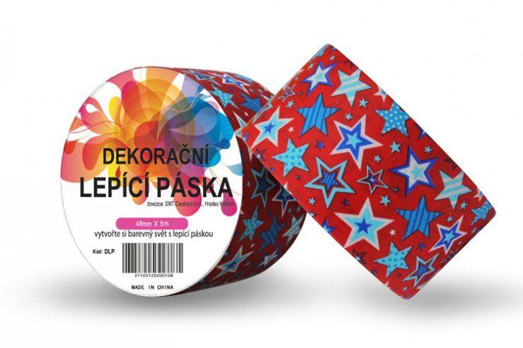 Duct Tape - dekorační lepicí páska - 5m x 48mm - MODRÉ HVĚZDIČKY V ČERVENÉ ostatní